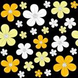 无缝背景黑色花卉超出的模式 免版税库存图片