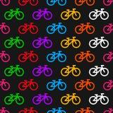 无缝自行车的模式 在黑背景的多彩多姿的象 库存例证