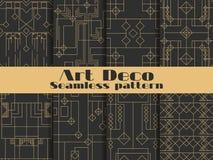 无缝艺术装饰的模式 集合减速火箭的背景、金子和黑颜色 称呼1920年` s, 1930年` s 线和几何形状 向量 库存照片