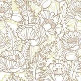 无缝花卉模式的鸦片 免版税图库摄影