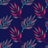 无缝花卉的模式 与叶子的手拉的纹理 五颜六色的叶子传染媒介 免版税库存照片