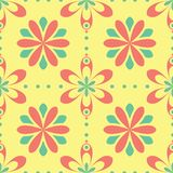 无缝花卉的模式 与桃红色和绿色花元素的明亮的色的背景 免版税库存照片