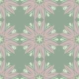 无缝花卉的模式 与淡粉红的花元素的橄榄绿背景 库存图片