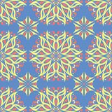 无缝花卉的模式 与色的花元素的蓝色背景 免版税库存图片
