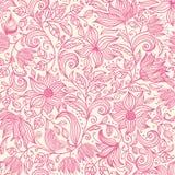 无缝花卉的模式 与葡萄酒夏天花的五颜六色的背景墙纸例证离开和装饰品 传染媒介textu 库存图片