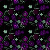 无缝花卉的模式 与装饰元素的紫色花在黑背景 免版税库存图片