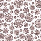 无缝花卉的模式 乱画与花,叶子的传染媒介背景 印地安装饰品,无刺指甲花样式 向量例证