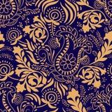 无缝花卉的模式 在两种颜色的佩兹利背景 库存例证