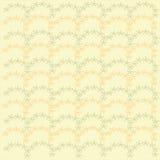 无缝花卉的模式 在淡黄色背景,春天,夏天的橙色和绿色淡色 库存图片