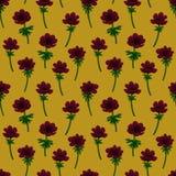 无缝花卉的模式 在芥末黄色背景的红色银莲花属样式 上色铅笔数字式例证 为 免版税库存图片