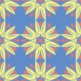 无缝花卉的模式 在蓝色背景的红色和黄色花元素 免版税库存图片
