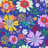 无缝花卉的模式 在蓝色backg的五颜六色的花 库存图片