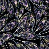 无缝花卉的模式 在黑背景的明亮的风格化枝杈 图库摄影