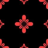 无缝花卉的模式 在黑背景的风格化红色花 免版税库存图片