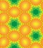 无缝花卉的模式 在绿色背景的橙色花 免版税库存照片