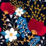无缝花卉的模式 手拉的创造性的花 与开花的五颜六色的艺术性的背景 抽象草本 免版税图库摄影