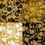 无缝花卉的金子 库存例证