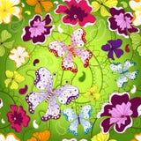 无缝花卉绿色的模式 免版税库存照片