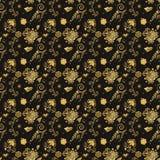 无缝花卉金黄的模式 免版税库存照片