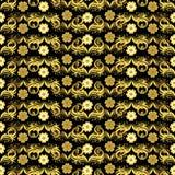 无缝花卉金黄的模式 免版税库存图片