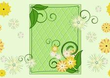 无缝花绿色叶子的模式 免版税库存照片