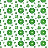 无缝花绿色的模式 免版税库存图片