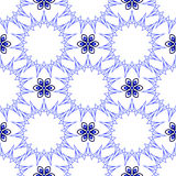 无缝蓝色十五渔星和六朵瓣花 免版税库存图片