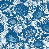 无缝蓝色和白色庭园花木的剪影 免版税库存照片