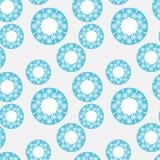 无缝蓝色圈子的模式 库存图片