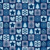 无缝蓝色圣诞节的模式 库存图片