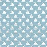 无缝蓝色河船的样式 免版税图库摄影