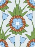 无缝蓝色的花纹花样 库存图片