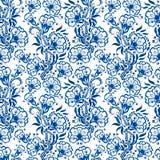 无缝蓝色花卉的模式 背景或俄国gzhel样式 库存图片