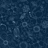 无缝蓝色花卉的模式 免版税图库摄影