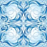 无缝蓝色花卉的模式 免版税库存图片