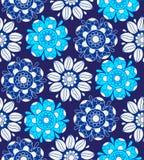 无缝蓝色花卉的模式 免版税库存照片