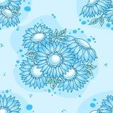 无缝蓝色花束的花纹花样 库存图片