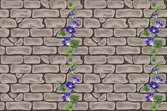 无缝蓝色花的砖 库存图片