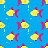 无缝蓝色鱼的模式 免版税库存图片