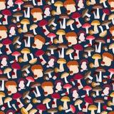 无缝蘑菇的模式 免版税图库摄影