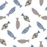 无缝装饰鱼的样式 库存照片