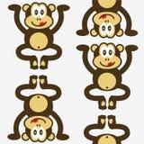 无缝逗人喜爱的小的猴子的模式 图库摄影