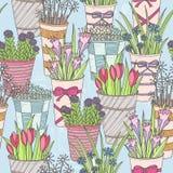 无缝逗人喜爱的花卉的模式 与花的样式在桶 免版税图库摄影