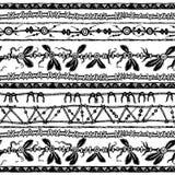 无缝部族种族的条纹 黑色白色 库存例证