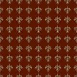 无缝锦缎卡其色褐红的模式 库存照片