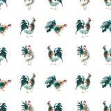无缝雄鸡绿色棕色神色的水彩 免版税库存图片