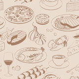 无缝食物的模式 免版税库存照片