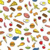 无缝食物的模式 免版税库存图片