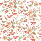 无缝鸟花卉的模式 免版税图库摄影