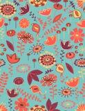 无缝鸟花卉的模式 免版税库存照片